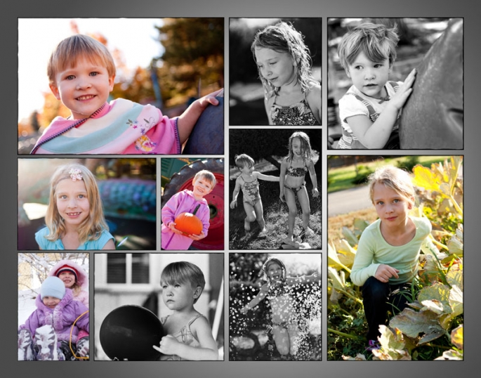 Custom collage of kids portraits