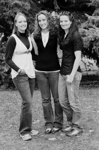 Group portrait of three young women