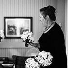 The Bride gets a first look at her bouquet