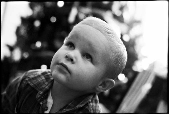 Portrait of a little boy on Christmas