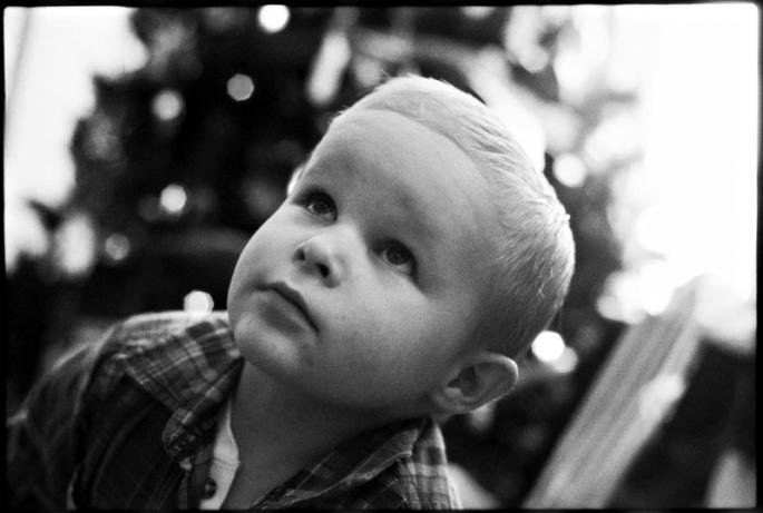 Portrait of a little boy on Christmas