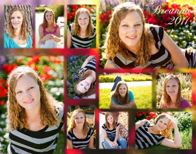 Eleven image senior portrait collage