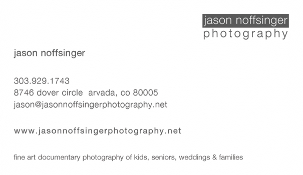 Front of Jason Noffsinger Photography Business Card