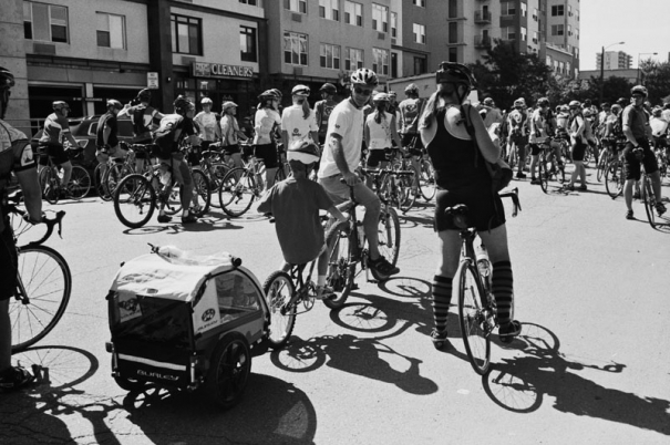A family of cyclists prepare for a huge group ride