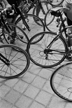 Picture of multiple bicycle wheels, an interesting detail from the press conference announcing the Quiznos Pro Challenge, in Denver, CO on August 4th, 2010.
