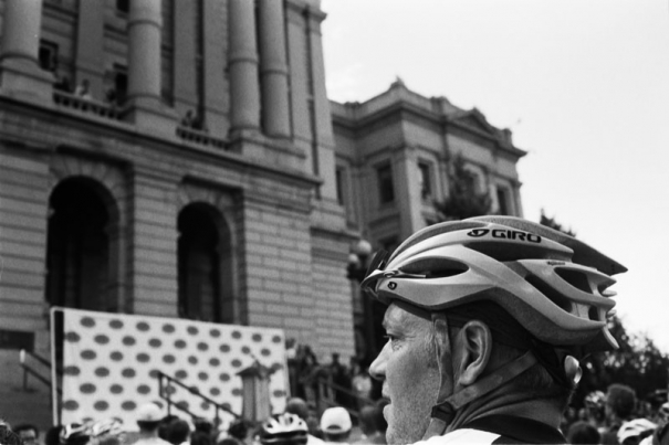 Cyclist at the state capitol for the press conference announcing the Quiznos Pro Challenge, in Denver, CO on August 4th, 2010.