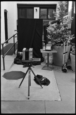 Large format camera and portable darkroom