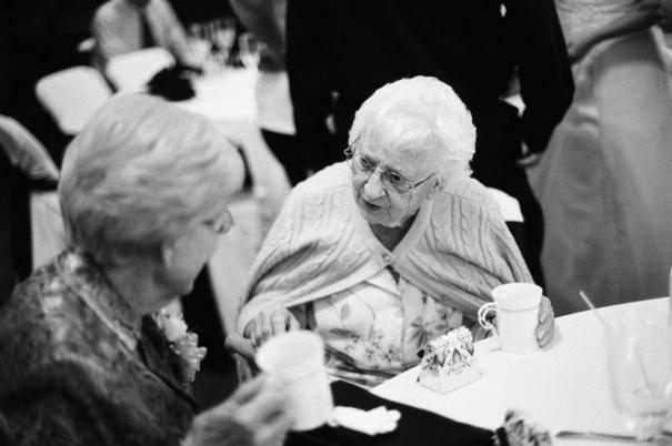 Wedding guests having a conversation